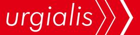 logo de urgialis en blanco y rojo